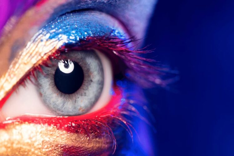 The eye of a woman which is painted in the face.