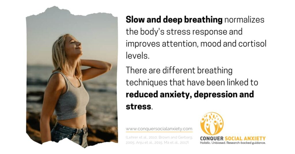 Slow and deep breathing normalizes the body's stress response and improves attention, mood and cortisol levels. There are different breathing techniques that have been linked to reduced anxiety, depression and stress.