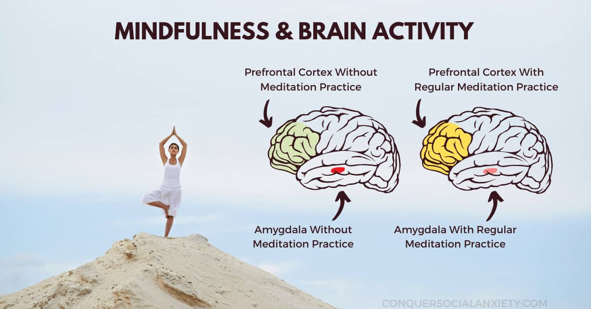 Regular meditation and mindfulness practice have been shown to increase activity in the prefrontal cortex and lower the  amygdala response in stress situations.
