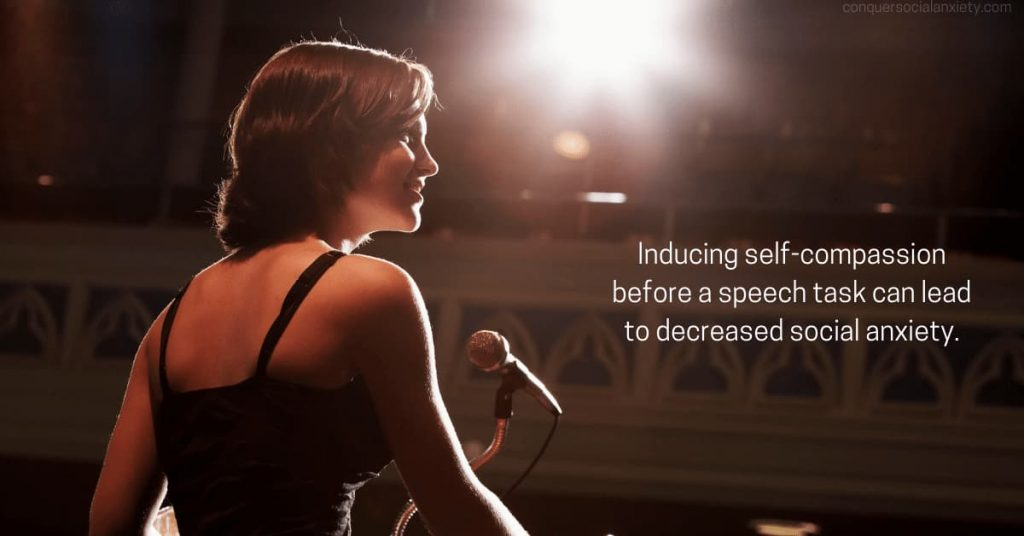 Cultivating self-compassion in the face of one's own shortcomings has been shown to lower anxiety in people in public speaking scenarios.