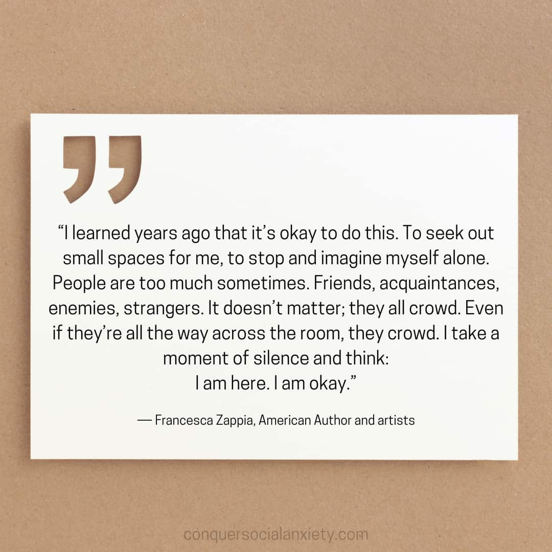 """Francesca Zappia social anxiety quote: """"I learned years ago that it's okay to do this. To seek out small spaces for me, to stop and imagine myself alone. People are too much sometimes. Friends, acquaintances, enemies, strangers. It doesn't matter; they all crowd. Even if they're all the way across the room, they crowd. I take a moment of silence and think: I am here. I am okay."""""""