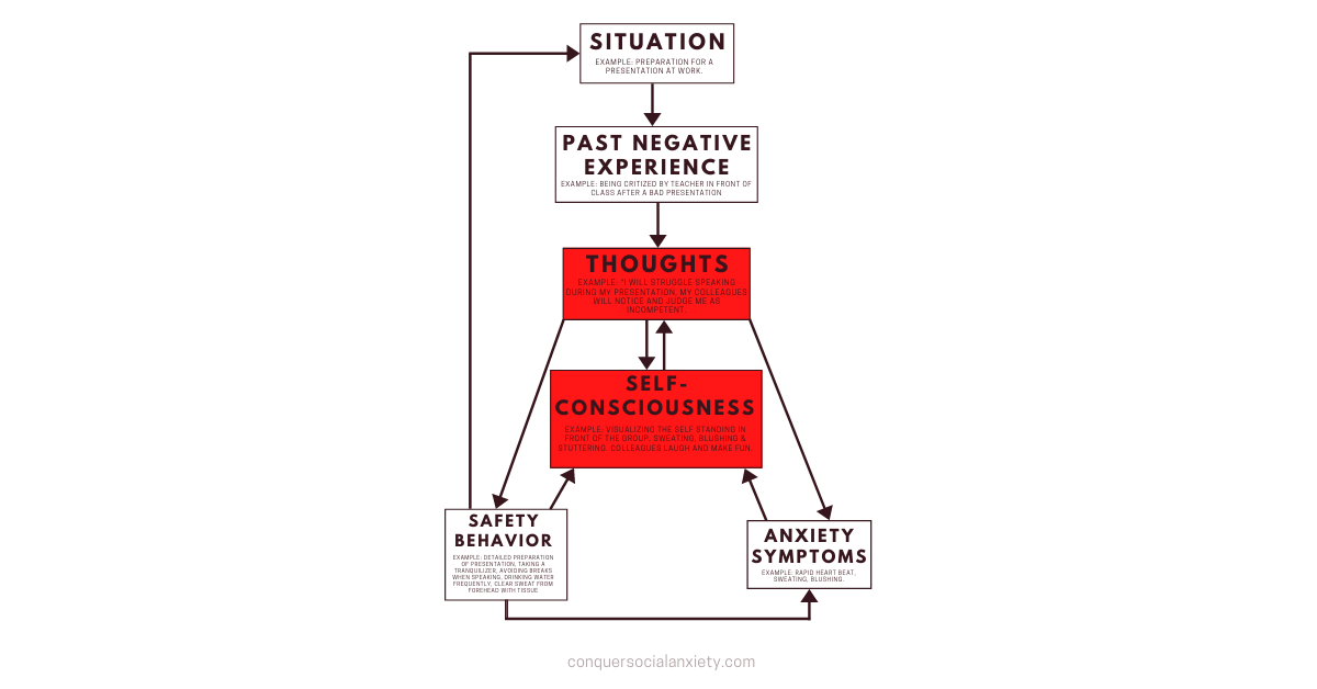 These areas are intervened through cognitive strategies during CBT for social anxiety.