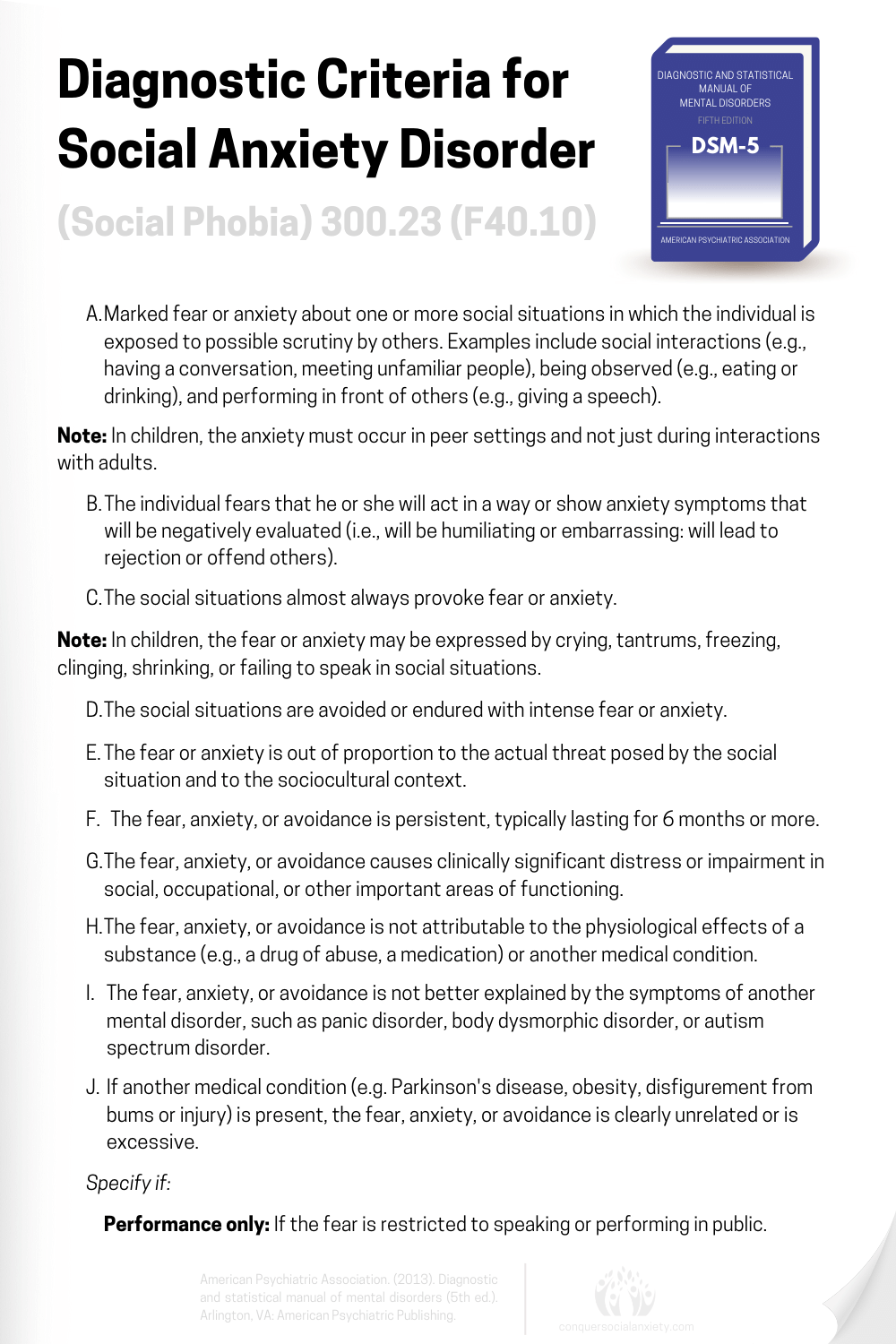 Official DSM-5 diagnostic criteria for the diagnosis of social anxiety disorder (social phobia).